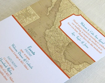Mexican Wedding Itinerary Card - Welcome Bag Card - Vintage Mexico Map - Destination Travel Events Card - Custom Colors