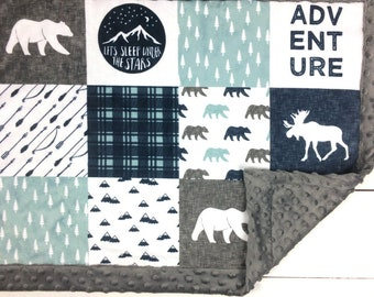 Adventure Baby blanket, Minky blanket, Mint Navy Gray woodland blanket, moose bear throw blanket, baby shower gift, personalized boy blanket