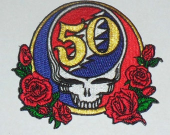 Grateful Dead 50th Anniversary Steal Your Face Embroidered iron on Patch ROSES