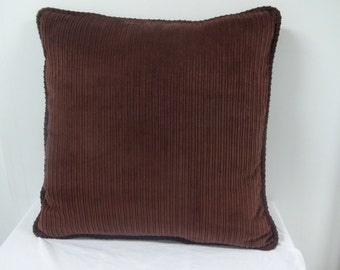 Brown corduroy pillow with brown corduroy cording, accent pillow, throw pillow, includes insert