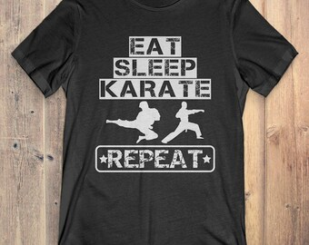 Karate T-Shirt Gift: Eat Sleep Karate Repeat