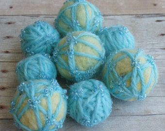 Felt Beads, Extra large Beads, Blue and Yellow shades Beads, Felt Balls Felt Beads Felted Balls Wool Beads, Round
