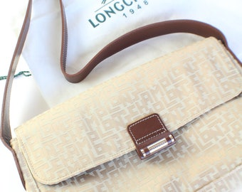 LONGCHAMP Beige Monogram Jacquard Handbag Purse Flap Closure Brown Leather Strap
