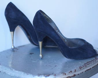 1940s Metal Sculpture heel - AS IS (size 5/5.5)