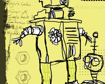 Robot Art, Robot Print, Robot Wall Art, Digital Download, Original Art, Size A4, Sci-fi, Decorative, Contemporary Art, Space, Unframed