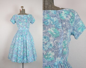 1950's Blue and Green Rose Print Cotton Day Dress / Size Small