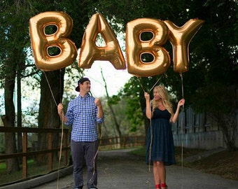 """Giant BABY Balloons -40"""", 16"""" Gold Silver Balloon, Gold Baby balloons, Baby Gold Balloons, Large Baby balloons, Big Baby, Baby Shower"""