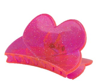 84x45 Hairclaw Heart in neon pink 1Pcs (WR2570_TM143flisi)