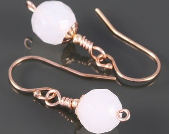 Faceted Snow Quartz Earrings. Rose Gold Filled Ear Wires. Genuine Quartz. Small Drop Earrings. f16e059