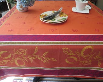 """Square Tablecloth, 64"""" by 64"""". Cotton Jacquard Teflon. Fabric from Provence, France . Big lemons in orange."""
