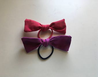 Pink n purple hair bow duo (set of two)