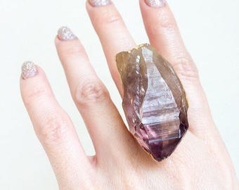 Raw Amethyst Gold Ring, Gold Amethyst Ring, Crystal Statement Ring, Amethyst Statement Ring, Geode Ring, Size 5 Ring