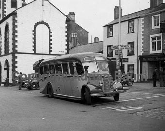 Photo print - Bedford bus in Keswick Market Place, 1954
