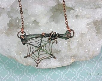Spider Web and Bone Copper Electroformed Statement Necklace|  SPRING CLEAN SALE