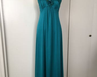 Vintage Teal Silky Jersey Disco Maxi Dress