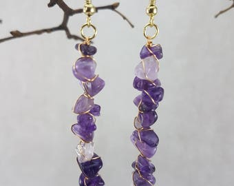 Amethyst Wrap Stack Dangles, Gold