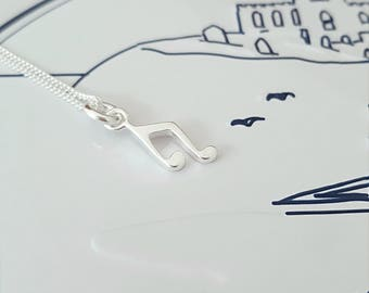 Music Note Necklace, Sterling Silver Music Note Necklace, Silver Music Necklace, Silver Music Note, Music Note Charm, Gift For Her