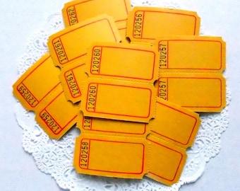 Vintage Yellow Raffle Tickets / 20 Tickets / Blank Tickets / Carnival Tickets / Journal Supply / Scrapbook Ephemera