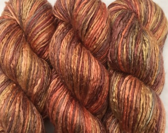 Hand Dyed Worsted weight Silk Yarn - Red Fox