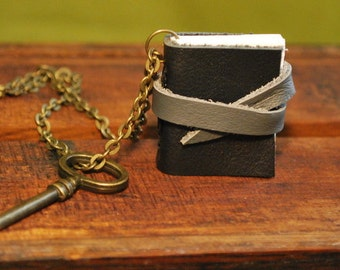 Leather Booklet Necklace Little Black Book