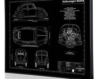 Beetle blueprint art etsy volkswagen beetle 1952 laser engraved wall art engraved on metal acrylic or wood malvernweather Gallery