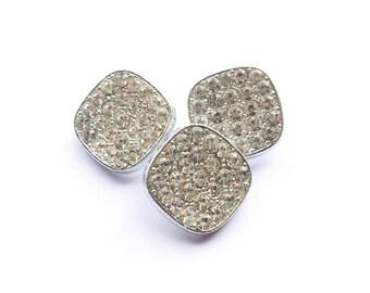 3 Silver Rhinestone Metal Shank Buttons, 20mm