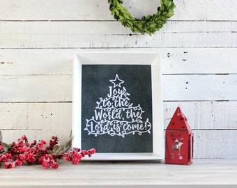 Joy to the World Sign, Christmas Wall Art, Rustic Christmas Decor, Christmas Wall Decor, Farmhouse Christmas, Chalkboard Christmas Print