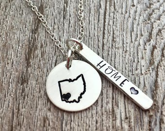 Personalized Necklace - Home - Ohio Jewelry - Ohio State Necklace  - hand stamped jewelry - Custom State Necklace  - Location Necklace