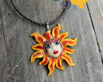 The Sun Pendant made of polymer clay, Christmas jewelry gift, boho OOAK pendant, Holiday gift for her
