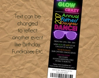 Custom Glow In The Dark - Neon - Ticket - Party Invitation