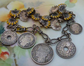 FRENCH GYPSY COIN bracelet  antique vintage assemblage  boho love token necklace