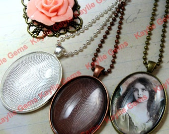 10- 30x40mm Complete Oval DIY Kits- Includes trays, necklaces, and Glass Cabochons