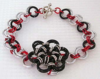 Black Red & Silver Flower Chainmail Bracelet