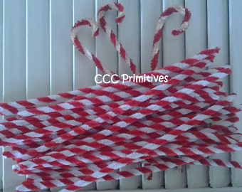 Chenille Candy Cane Stems - Primitive Candy Canes - Candy Cane Craft Supply - Holiday Candy Canes - Primitive Candy Canes