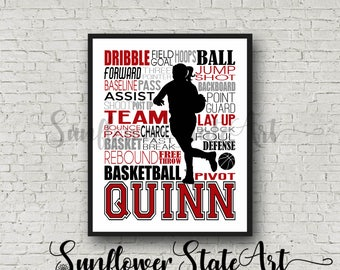 Basksetball Typography, Girls Personalized Basketball Poster, Girl's Basketball, Basketball Team Gift, Basketball Print, Basketball Wall Art