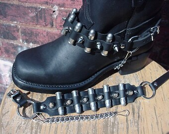 Biker Boots BOOT CHAINS Black Leather, Spikes and Bullets