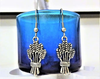 WHEAT EARRINGS - surgical stainless steel ear wires - hypoallergenic, sensitive ears, non allergic ear wires