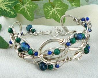 Wirewrapped Silver Cuff ~ Wirewrapped Silver Bracelet ~ Wirewrapped Bracelet ~ Azurite Bracelet ~ Malachite Bracelet ~ Silver Wire Bracelet