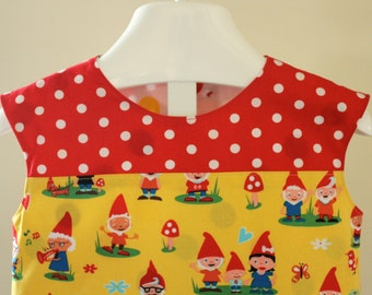 Cap Sleeve Color Block Gnome Dress With Red and White Polka Dots and Brown Wood Grain.  A Line Shift Dress. Ready to Ship in Size 2T