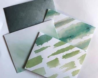 Watercolour Effect Handmade Envelopes (4PCK) Letters/Snailmail/Journals/Scrapbooks/Etc