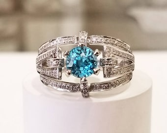 2.47 ctw Blue Zircon and Diamond Engagement Ring in Sterling Silver / Natural Gemstone Ring ~ See Video! / De Luna Gems / Free Shipping!