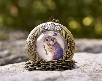 Brass Gold and Glass Art Locket  Woodland Necklace The Little Mouse Prince