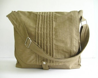 Sale - Khaki Water Resistant Messenger Bag, school bag, tote, cross body bag, practical, stylish - Tiffany