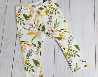 Blooms and Blossom Floral Leggings. Baby Leggings.