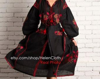 Vyshyvanka Linen Embroidered Dress Ukrainian Vyshyvanka Dress Mexican Dress Kaftan Abaya Caftan. Free Shipping Bohemian style