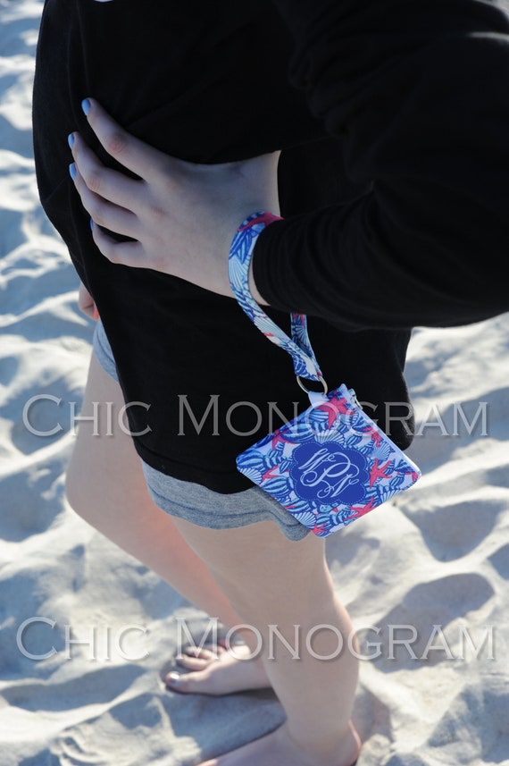 Bridal Party Gifts Key Fob Wristlet ID Wallet Lilly Inspired Monogram Key Chain Key Fob Zipper Wallet Personalized Graduation Gift For Her