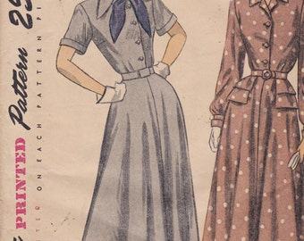 Simplicity 2329 Vintage Pattern 1940s Front Button Dress with Flared Skirtin 2 Variations Size 14