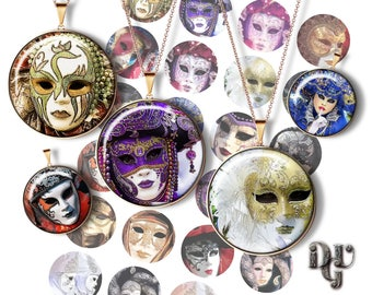 "CARNIVAL MASK 1.5"" bottle cap images Masquerade for Cabochons Jewelry Images Venice Carnival Printable Digital Collage Sheet Download C_033"