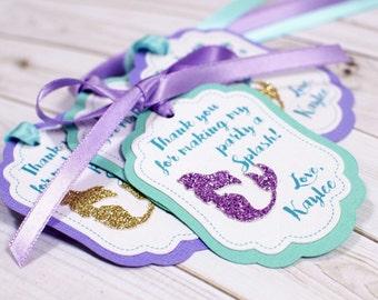 12 Mermaid Custom Favor tags, under the sea, little mermaid favor tags
