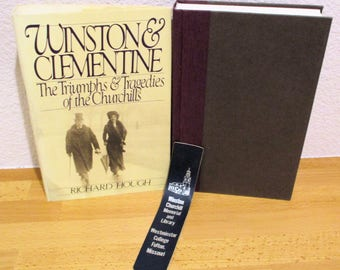 """WINSTON CHURCHILL """"Winston & Clementine"""" by Richard Hough,  1990 and Leather Bookmark"""